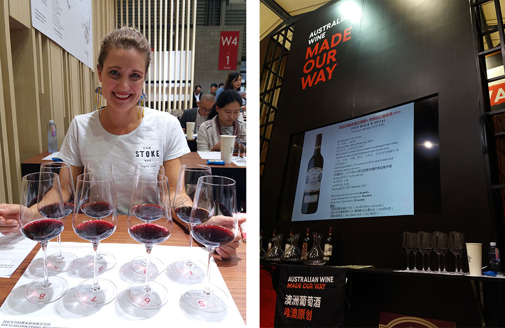 Left: Lieke van der Hulst pictured behind 8 glasses of red wine set for a blind tasting. Right: Sign at ProWine China 2018 'Australian Wine made our way' featuring a bottle of Kay Brother 2015 Block 6 Shiraz